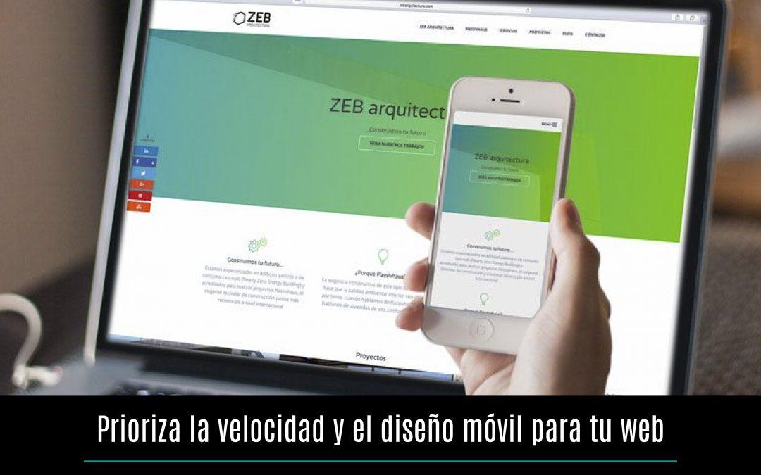 Prioriza la velocidad y el diseño móvil para tu web